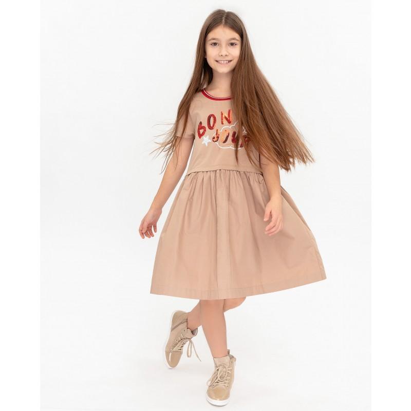 Бежевое платье с принтом Gulliver