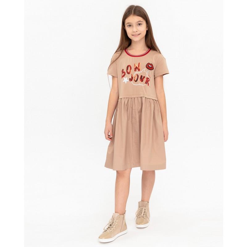 Бежевое платье с принтом Gulliver (фото 2)
