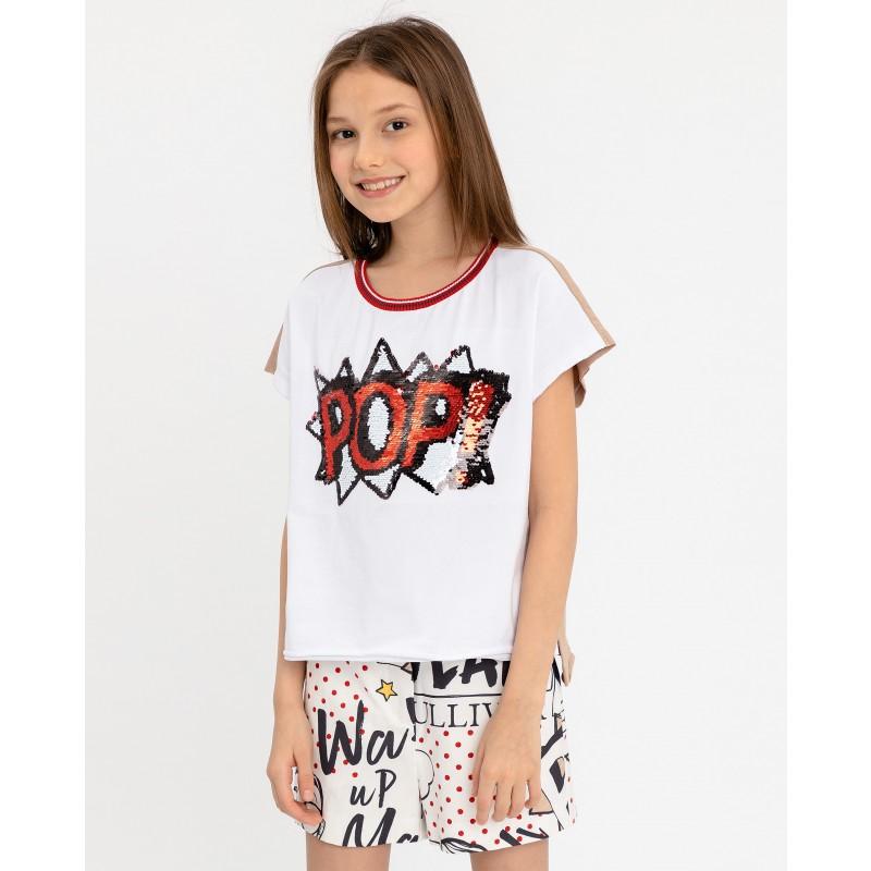 Двухцветная футболка с принтом Gulliver