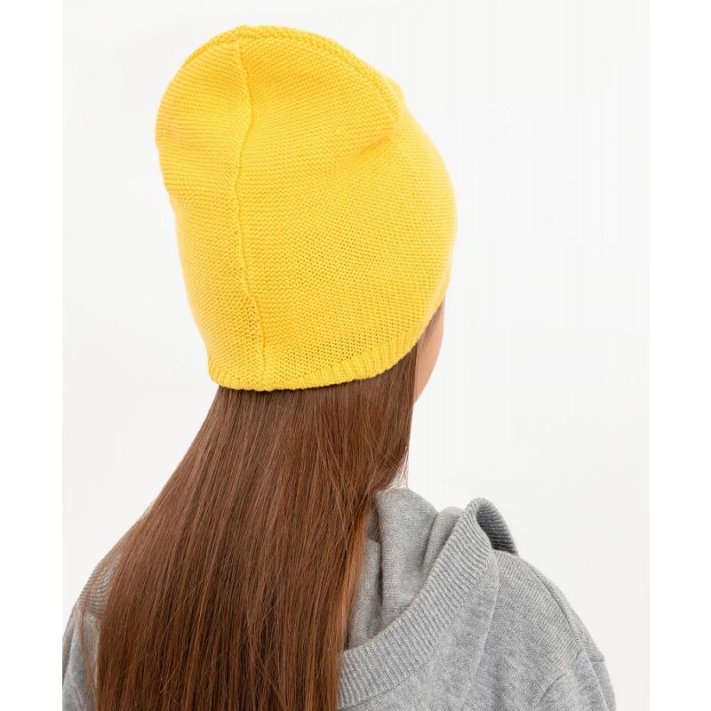 Желтая вязаная шапка Button Blue (фото 2)