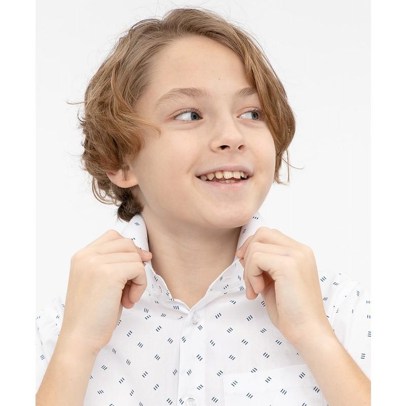 Белая нарядная рубашка с коротким рукавом Button Blue (фото 5)