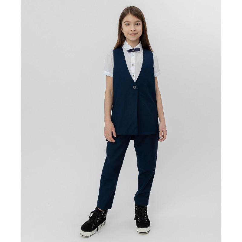 Синий удлиненный жилет Button Blue (фото 2)
