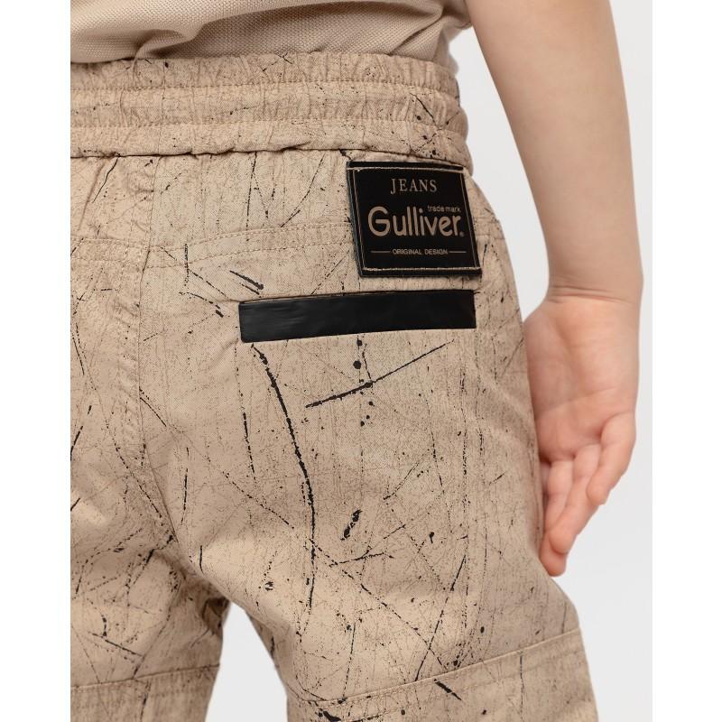 Бежевые брюки с принтом Gulliver (фото 4)