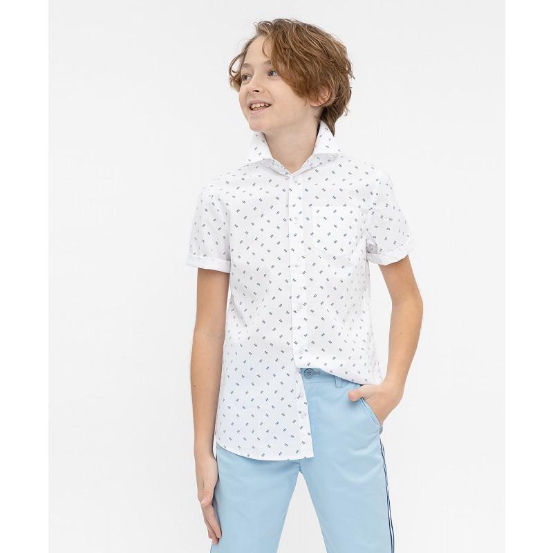 Белая нарядная рубашка с коротким рукавом Button Blue